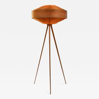 AB Markaryd 1960s Hans Agne Jakobsson Wood Tripod Floor Lamp for AB Ellysett