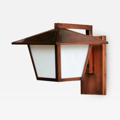 ADG Lighting Copper Plated Lantern With White Frosted Glass
