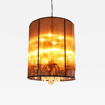 ADG Lighting Rock crystal chandelier forged with satin mesh shade contermporary chandelier