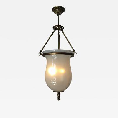 ADG Lighting White Bell Jar Pendant Cast Brass
