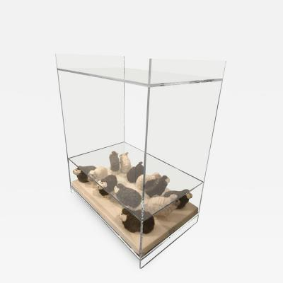 AMK for Patricia Kagan Lucite Object dart Wooly Sheep Bedside Side Table by AMK for Patricia Kagan