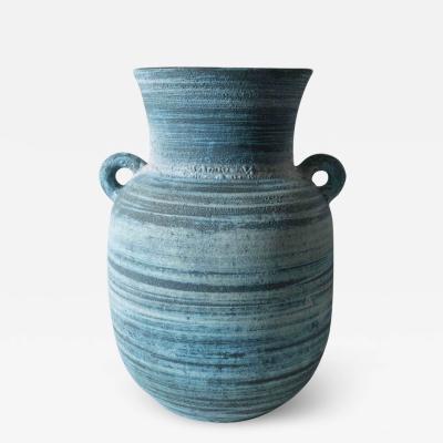 Accolay Pottery Large Indigo Ceramic Vase by Accolay Signed France c 1950