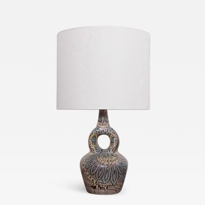 Accolay Pottery Large Owl Accolay Ceramic Table Lamp with Fabric Shade