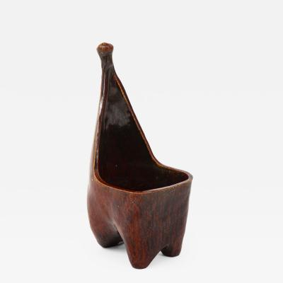 Accolay Pottery Mid Century Sculptural Zoomorphic Ceramic Vessel Attributed to Accolay