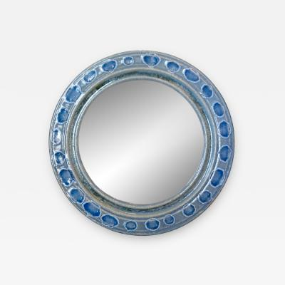 Accolay Pottery Mirror with blue glazed ceramic frame by Teh Accolay Potteries
