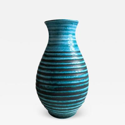 Accolay Pottery Ridged Teal Vase Attrib Poitieres dAccolay