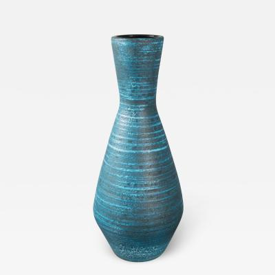 Accolay Pottery Tall Turquoise Ceramic Vase by Accolay Pottery France 1960s