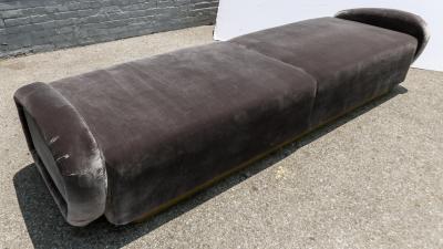 Adesso Studio Custom 1960s Italian Style Velvet Sofa or Bench with Brass Base