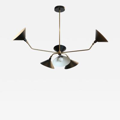 Adesso Studio Custom Black Metal and Brass Mid Century Style Chandelier by Adesso Imports