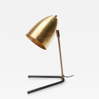 Adesso Studio Custom Brass and Black Metal Mid Century Style Desk Lamp