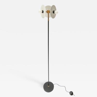 Adesso Studio Custom Brass and Black White Metal Mid Century Style Floor Lamp