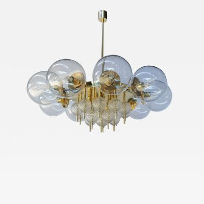 Adesso Studio Custom Mid Century Style Brass Chandelier with Clear Glass Balls