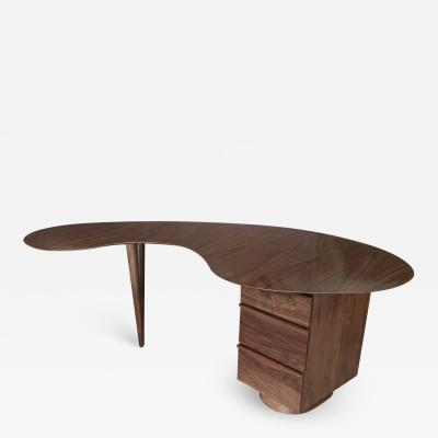 Adesso Studio Custom Mid Century Style Curved Walnut Desk