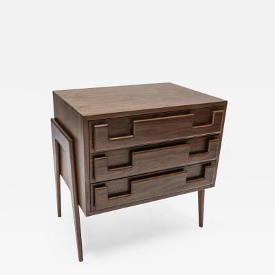Adesso Studio Custom Mid Century Style Walnut Nightstands with Three Drawers