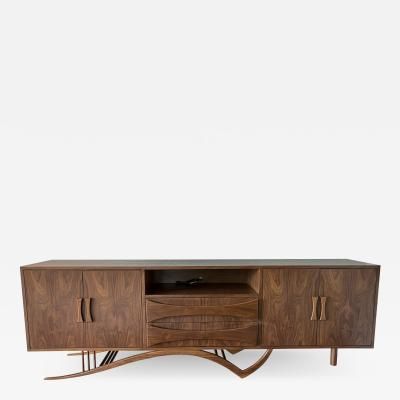 Adesso Studio Custom Mid Century Style Walnut Sideboard with Curved Leg