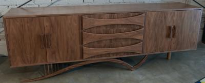 Adesso Studio Custom Mid Century Style Walnut Sideboard with Curved Leg and Three Drawers