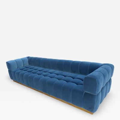 Adesso Studio Custom Oscar Tufted Blue Velvet Sofa with Brass Base