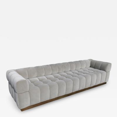 Adesso Studio Custom Oscar Tufted Grey Velvet Sofa with Brass Base
