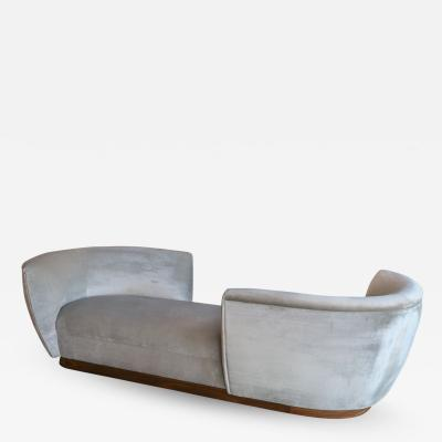 Adesso Studio Custom Tete a Tete Sofa Bench in Grey Velvet with Walnut Base by Adesso Imports