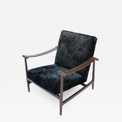 Adesso Studio Custom Walnut Mid Century Style Armchairs in Black Sheepskin
