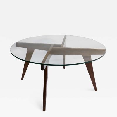 Adesso Studio Custom Walnut Mid Century Style Coffee Table with Glass Top
