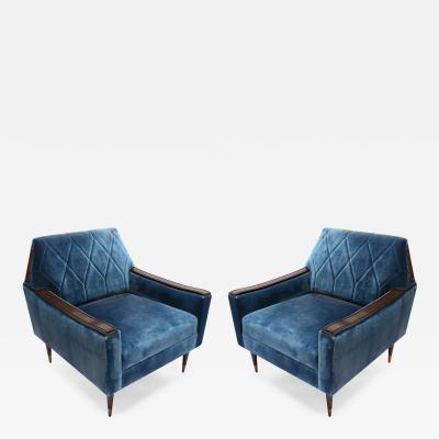 Adesso Studio Pair of Custom 1960s Style Silk Velvet Armchairs with Wood and Brass Details