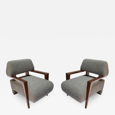 Adesso Studio Pair of Custom Art Deco Midcentury Style Walnut Armchairs