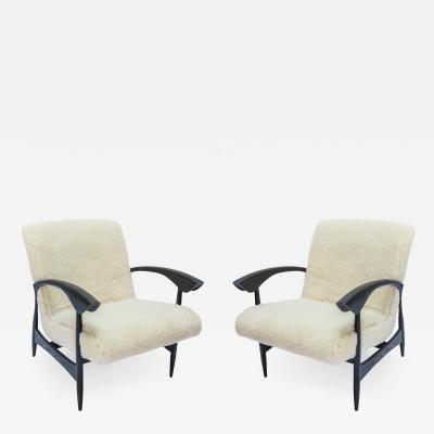 Adesso Studio Pair of Custom Black Matte Oak Armchairs in Ivory Wool
