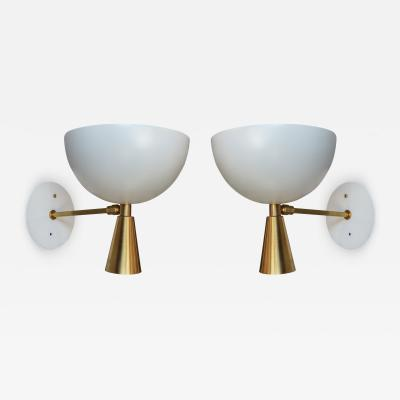 Adesso Studio Pair of Custom Brass and White Metal Mid Century Style Sconces by Adesso Imports