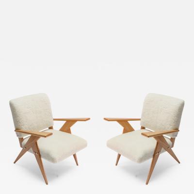 Adesso Studio Pair of Custom Mid Century Style Oak Sheepskin Armchairs