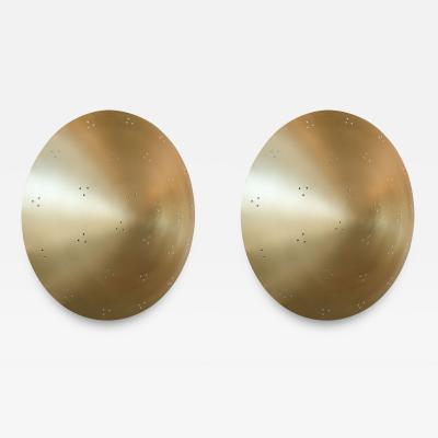 Adesso Studio Pair of Custom Perforated Metal Brass Conical Convex Sconces