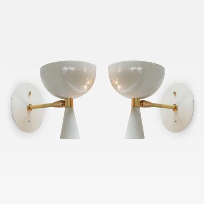 Adesso Studio Pair of Custom Small White Metal Mid Century Style Sconces by Adesso Imports