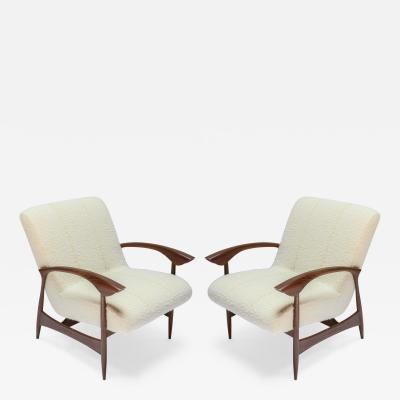 Adesso Studio Pair of Custom Walnut Armchairs in Ivory Boucle