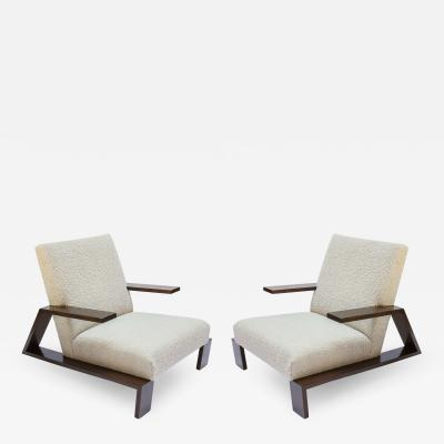 Adesso Studio Pair of Custom Walnut Midcentury Style Armchairs in Beige Boucle