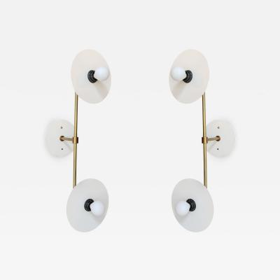 Adesso Studio Pair of Custom White Metal Double Head Mid Century Style Sconces