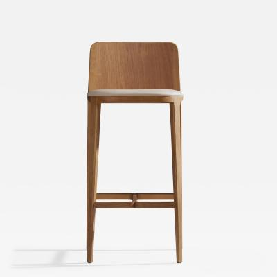 Adolini Simonini Minimal Style Bar Stool in Solid Wood Textiles or Leather Seatings solid back