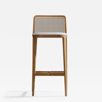 Adolini Simonini Minimal Style Solid Wood Stool Textiles or Leather Seatings Caning Backboard
