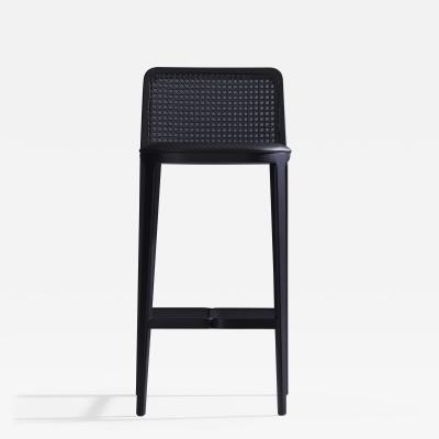 Adolini Simonini Minimal Style Solid Wood Stool Textiles or Leather Seatings Caning ebonized