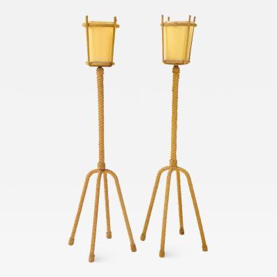 Adrien Audoux Frida Minet Audoux Minet Four Legged Rope Floor Lamps France