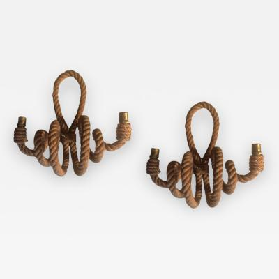 Adrien Audoux Frida Minet Audoux Minet French riviera charming pair of twisted rope sconces