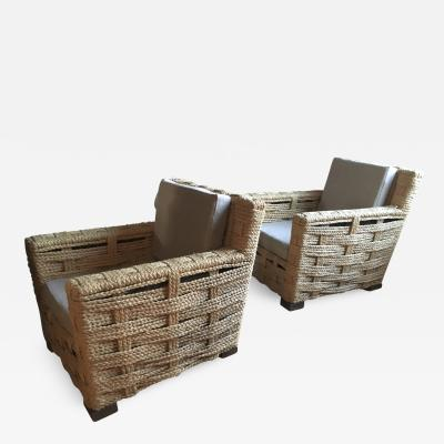 Adrien Audoux Frida Minet Audoux Minet Rarest Pair of Woven Hay Lounge Chairs