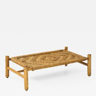 Adrien Audoux Frida Minet Audoux Minet Woven Rope and Wood Coffee Table or Bench