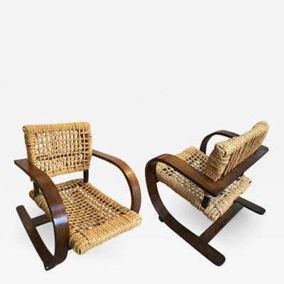 Adrien Audoux Frida Minet Audoux Minet for Vibo pair of rope chair in good vintage condition