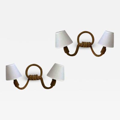 Adrien Audoux Frida Minet Audoux Minet pair of witty 2 light rope sconces