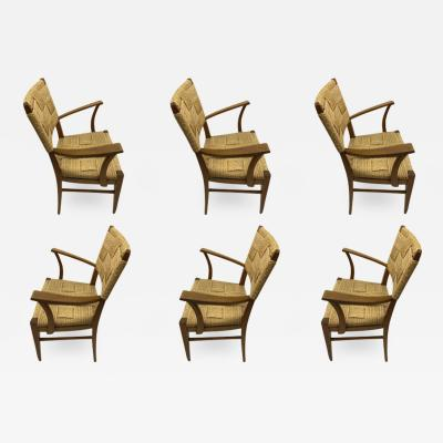 Adrien Audoux Frida Minet Audoux minet genuine oak and hay rope set of 6 arm chairs