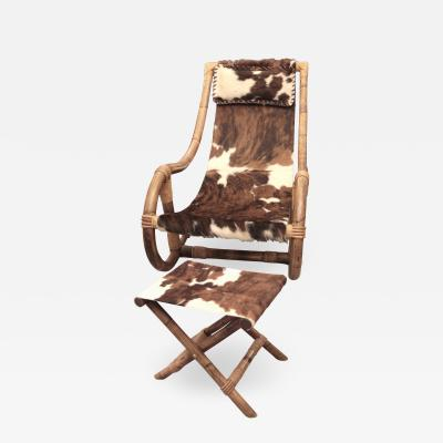 Adrien Audoux Frida Minet Deckchair and footstool by Audoux Minet France circa 1950