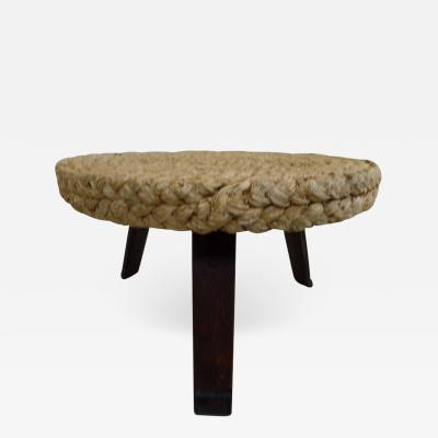 Adrien Audoux Frida Minet French Mid Century Modern Woven Rush Round Coffee Table by Audoux Minet 1940