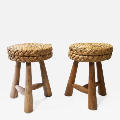 Adrien Audoux Frida Minet Frida Minet Adrian Audoux Pair of stools circa 1950