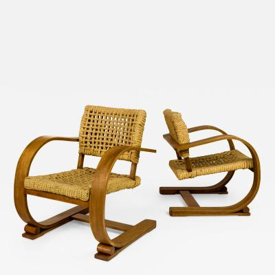 Adrien Audoux Frida Minet Pair of Adrien Audoux and Frida Minet Chairs circa 1940 France