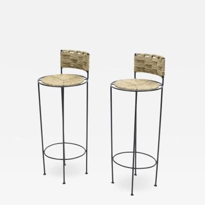 Adrien Audoux Frida Minet Pair of french bar stools rope and metal by Audoux Minet 1950s